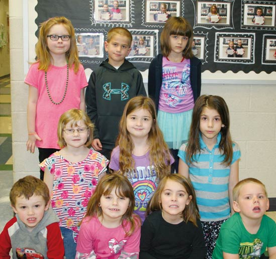 K - 2, who were named October 2015 students of the month for best being bully free and drug free